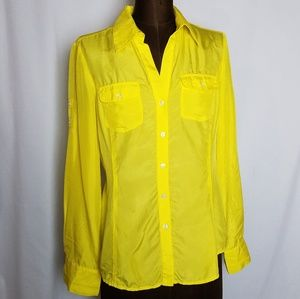 Express 100% silk roll tab button down top size S